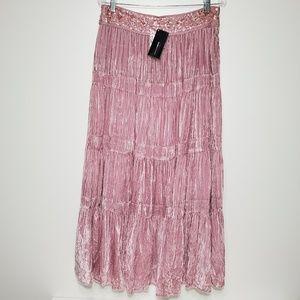 Bcbgmaxazria velvet crinkled full skirt gypsy boho